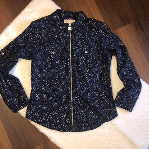 Michael Kors Zip Up Black Top With Stars Medium